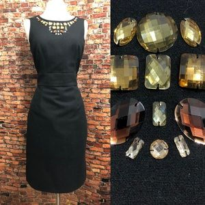 Banana Republic Little Black Wool Gemstone Dress